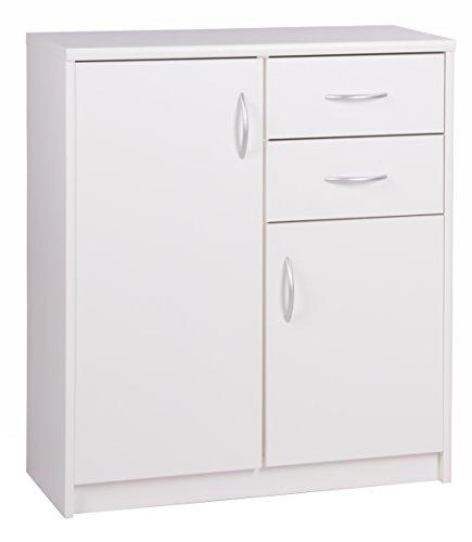 Inter Trade Corporation Kommode mit 2 Türen und 2 Schubladen (B/H/T: ca.: 74 x 85 x 35 cm) Topplatte 22 mm gesoftet, (Melaminharzbeschichtet - kratzfest & wasserabweisend) weiß