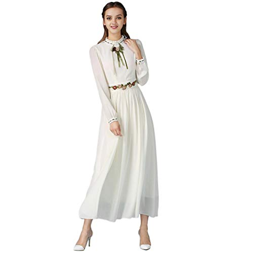 Mitlfuny Indian Muslim Islamic Arab Abaya Jilbab Middle Eastern Ramadan,Frauen moslemisches festes langärmliges Besticktes arabisches Kleid Islam Jilbab Kleid