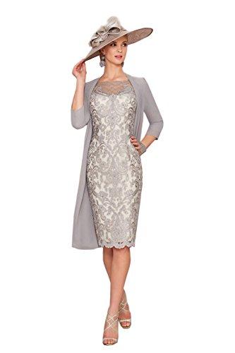 Dressvip Graue Spitze halbe Hülsen unterhalb der Knie Längen Abschlussball Kleid mit Chiffon Mantel (36, Graue) (Kleider Knie Linie Der Unterhalb Eine)