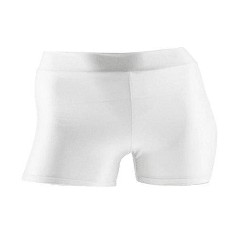 MagiDeal Damen Kompression Sport Kurze Hosen Elastische Shorts Sportshort Yoga Tanzen Spandex Shorts Hotpants Hot Pants Hipster - Weiß, S