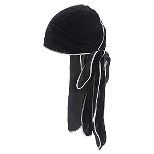 HADM Velvet Duragtuch für Herren, extra lang, Design Wellen, mit Breiten Trägern - - Einheitsgröße - Rag Biker Skull Cap