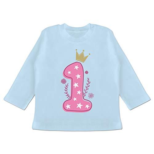 Geburtstag Baby - 1. Geburtstag Mädchen Krone Sterne - 12-18 Monate - Babyblau - BZ11 - Baby T-Shirt Langarm