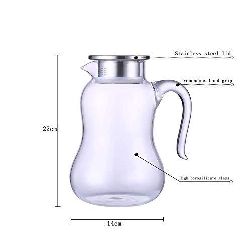 LARRY SHELL 2L Großaufwändiges Karafe-Glashaufen mit Edelstahl-Lid-Kanilikat für Hot/Cold Water Coffee Ice Ice Tea Juice Beverage Decanting