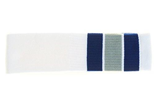 Choobes (Unisex) 30 Zoll über dem Knie White Tube Socken mit Royal Blue/Grey Stripes