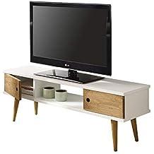 Hogar24-Mesa Television, Mueble TV Salon diseño Vintage, 2 Puertas y Estante,