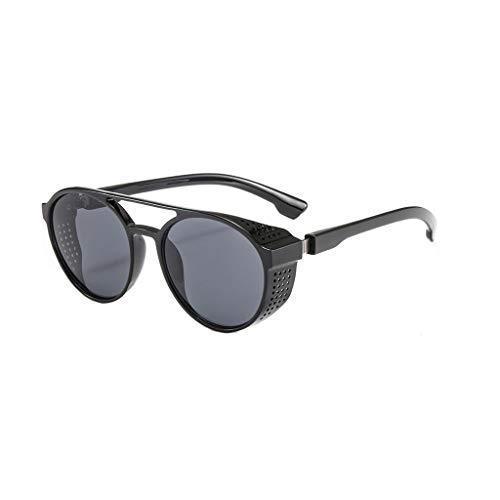 fazry Sonnenbrille mit rundem Rahmen, unisex, modisch, mit Katzenaugenschutz, gestreift, Vintage-Brille Gr. Einheitsgröße, Schwarz
