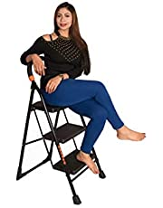 Parasnath Black Heavy Folding Ladder With Wide Steps Milano 3 Steps 3.1 Ft Ladder (Lifetime Warranty*Made In India)