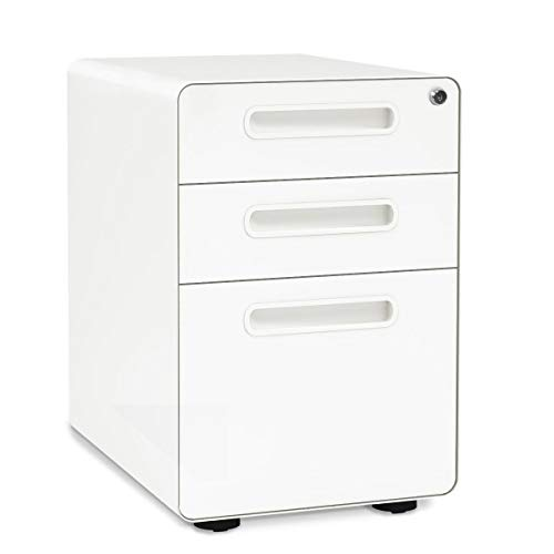 DEVAISE Aktenschränke, Metall Rollcontainer, Büro-Rollcontainer, Bürocontainer mit Anti-umkippen-mechanismus für A4; 3 Schublade, Mobilen, Abschließbar Weiß
