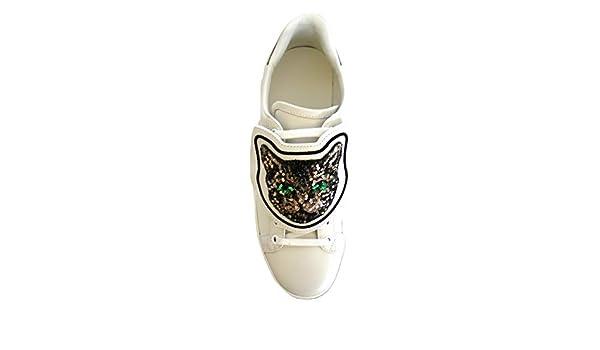 Gucci Scarpe Sneaker Bassa Ace con Patch Gatto in Pelle Bianca 506635 0FI10  9060 (38 EU)  Amazon.it  Scarpe e borse 7b6f96b450b4
