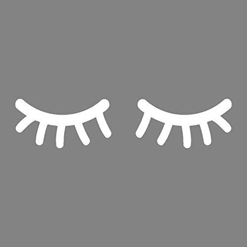 timalo® Wandtattoo fürs Kinderzimmer Motiv Sleepy Eyes schlafende Augen Wimpern Aufkleber Auto | 75024-weiss-40x20 (Weißes Auto Wimpern)