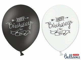 LoBeSo® Luftballon Happy Birthday in schwarz und weiss mit Aufdruck dem Happy Birthday to you 10 Stück 30cm Durchmesser , 110 cm Umfang , 12 Zoll Heliumgeeignet Ballon Dekoration Geburtstag Party Jahrestag