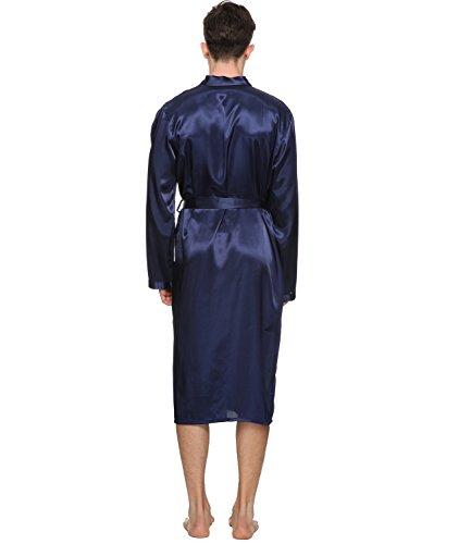 Herren Satin Kimono Robe Morgenmantel Lange Bademantel Marine ...