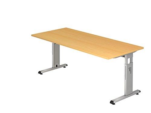 Hammerbacher Schreibtisch höhenverstellbar'O' Breite: 180cm, Ausführung (Tischplatte): Buche,...