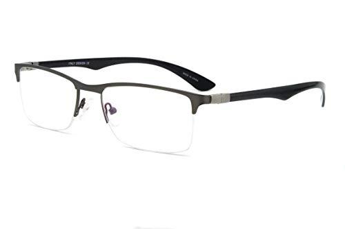 Men Metal frame Rectangle shape with Carbon Fiber temple Clear Lens Eyeglasses