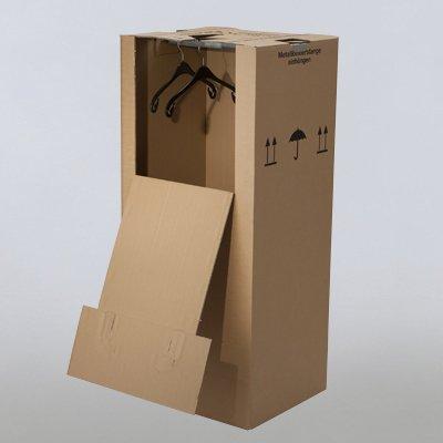 2 neue Kleiderboxen 600 x 510 x 1350 mm / Qualität: 2.60 BC (doppelwellig) / inkl. Kleiderstange / für Umzug Kleider Transport Verpackung Karton Kiste Kleidung - 2