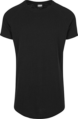Urban Classics Herren T-Shirt Thermal Slub Raglan Tee, Schwarz (Black 7), Medium