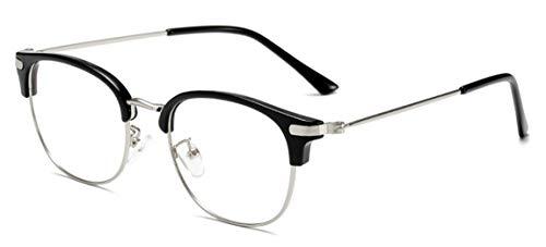 JIUPO Herren 50er Jahre Retro Nerd Brille Halbrahmen Hornbrille Brille Ohne Sehstärke Brillenfassung