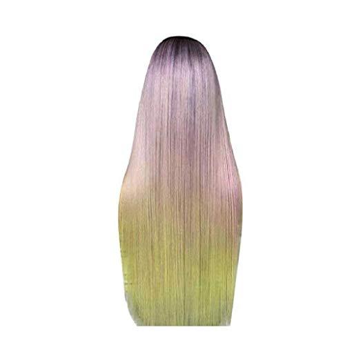 Waselia-front lace perücken damen/lace haarteil(60 cm),Perücke,Mehrfarbig, gewellt, mit Spitze vorne, klebefrei, lang, Kunsthaar, Mittelscheitel, wellig, für Frauen, hitzebeständig, 55,9 ()