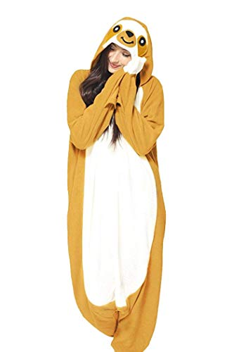 (Memoryee Animal Cosplay Kostüm New Sloth Adult Pyjamas Plüschkostüm Idee/Gelb/M)