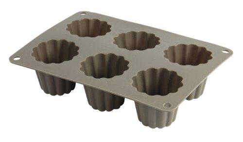 Crealys 513013 Moule à 6 Cannelles en Silicone Candy Gris 20 x 15 x 5 cm