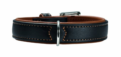 HUNTER CANADIAN Halsband für Hunde, Leder, 65, schwarz/cognac -