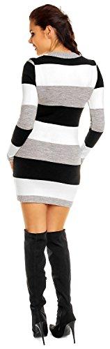 Zeta Ville Damen Umstands Blockfarben Strickkleid Streifen Pulloverkleid - 405c Schwarz