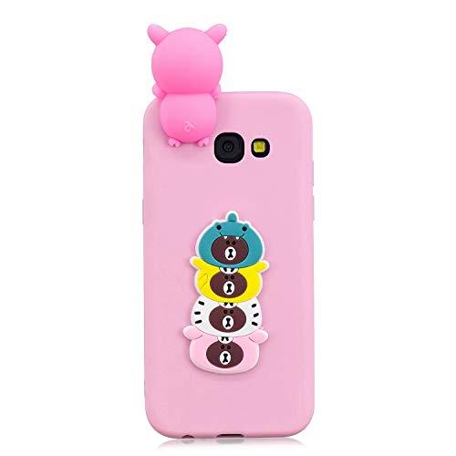 ZCXG Samsung Galaxy A3 2017 A320 Hülle Pink Katze Hund Silikon Clear View Cover 3D Hülle Ultra Dünn Back Bumper Case Gummi Stoßfest Anti-Scratch Slim Soft Cover Slim Fit Crystal #Pink Bear