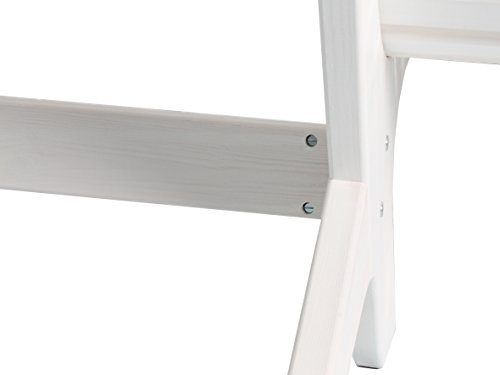 Trendy-Home24 stabile ergonomische große Sitzbank Parkbank Holzbank Gartenbank 140 cm breit (Weiß) - 5