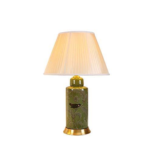 AI LI WEI Beautiful Lamps/Keramiklampe, Ganz Kupfer, Amerikanischer Grüner Vogel, Säule, Mediterranes Wohnzimmer, Schreibtisch, Bemalte, Antike Schreibtischlampe (Größe: L42 * 67 cm),Nachtlicht