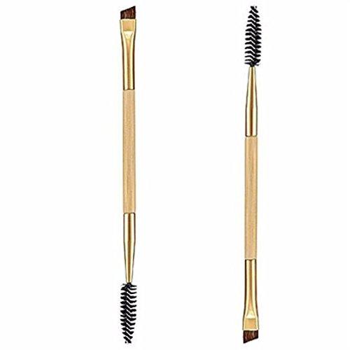 VWH Make-up Pinsel, 1PCS Make-up Bambus Griff Doppel Augenbrauen Pinsel + Augenbrauen Kamm