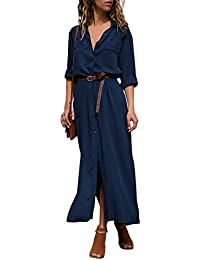 DOKOTOO Womens Casual Roll up Sleeve Button Down Maxi Shirt Dress