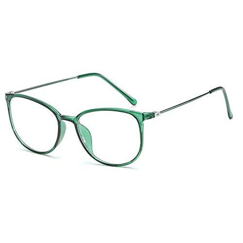 YMTP Retro Runde Brillengestell Frauen Myopie Metall Brillen Optische Rezept Objektiv Plain Spiegel, Grün