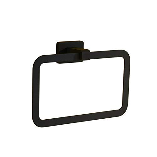 Schwarze Farbe Amerika-Stil Wand-Bad-Accessoires quadratischen Handtuchring Handtuchhalter 17632 (Color : -, Size : -)