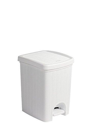 Tretmülleimer im Rattan Design mit herausnehmbaren Einsatz und 20 Liter Volumen im klassischen Weiß - für das Bad, die Küche oder das Büro