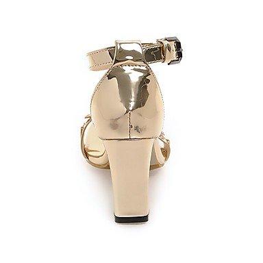 LvYuan Da donna Sandali Comoda Cinturino alla caviglia Vernice Estate Formale Comoda Cinturino alla caviglia Brillantini Oro Argento Marrone7,5 Gold