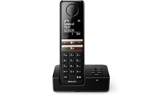 Philips D4651B schnurloses Telefon mit Anrufbeantworter (4,6 cm Display, HQ-Sound, Mobilteil mit Freisprecheinrichtung) schwarz