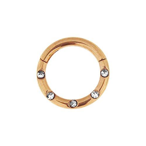 16 Gauge - 7 MM Durchmesser stieg Gold eloxierte Chirurgenstahl 5 Kristallsteinen gepflastert klappbar Segment Nase Ring Septum Piercing