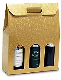 1 Caja de 20 Bolsas de cartón para Botellas (Oro, ...