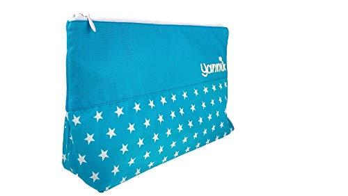 Waschtasche Sterne groß mit Namen Türkis, Kulturtasche Kinder, Kulturbeutel mit Namen, Geschenke für Jungen
