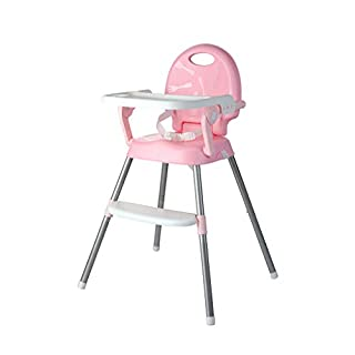 Stool JIE AJS Baby Multifunctional Chair, Baby Dining Chair Height Adjustable Portable Baby Feeding Folding High Chair A++ (Color : PINK)