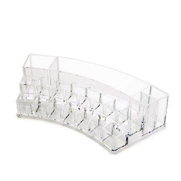 Macallen Organiseur de maquillage courbé en acrylique 19 compartiments Transparent