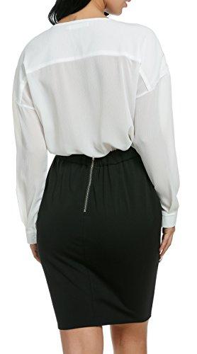Damen Chiffon zweiteiliger Karriereanzug tiefer V-Ausschnitt Langärmeliger Oberteil und knielanges Kleid mit elastischer Taile Bleistift Design und rückseitigenreißverschluss - 4
