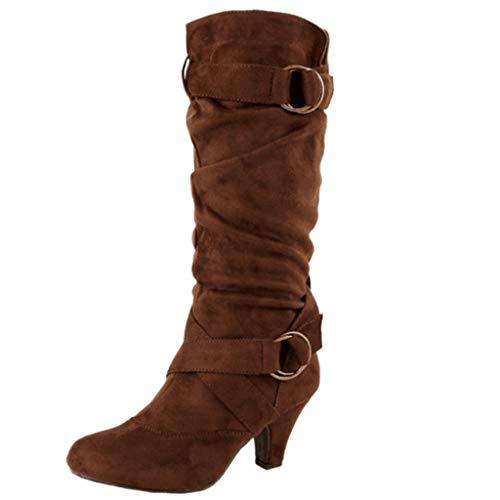 NINGSANJIN Damen Klassische Stiefeletten mit Blockabsatz Plateau Vorne Profilsohle (Brown,43)