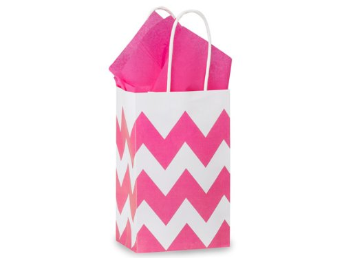 Rose Chevron Stripe Hot Pinkrecycled Mini-Pk 5-1/4X3-1/2X8-1/4 inch 25 pack