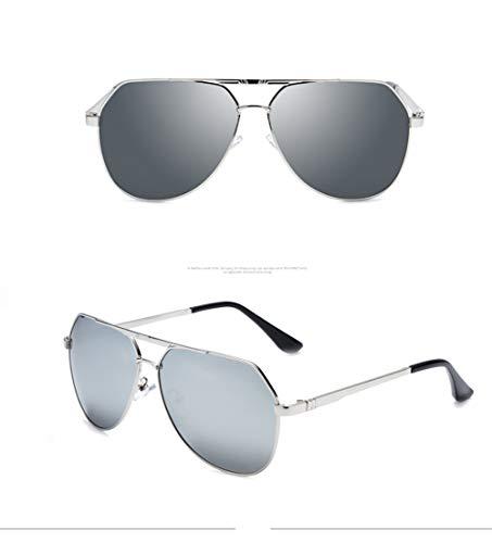 Sonnenbrille Herren Damen Klassische Retro Polarisiert verspiegelt Pilotenbrille Outdoor Sport Sonnenbrille, Silber, Größe