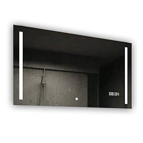 FORAM Design Badspiegel mit LED Beleuchtung Wandspiegel Badezimmerspiegel mit Touch Schalter + LED Uhr + Steckdose