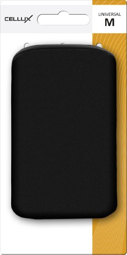 Cellux Mikrofaser Tasche Größe M (Apple iPhone 3G/3GS/4/4S, Galaxy S 3 mini, HTC Desire S, Nokia 620 und weitere Geräte) schwarz waves schwarz