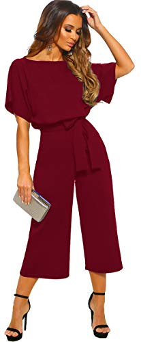 6d4030dd21d5 Longwu Donna Elegante Tuta a Manica Corta a Vita Alta Pantaloni Larghi per  Le Gambe Pantaloni