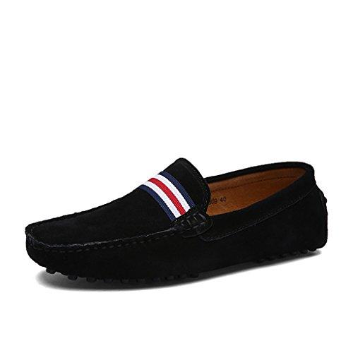 Eagsouni® Herren Mokassin Bootsschuhe Wildleder Loafers Schuhe Flache Fahren Halbschuhe Slippers Schwarz