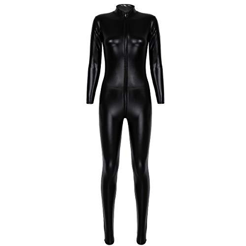 iixpin Damen Wetlook-Dessous Frauen Catsuit Ouvert-Catwoman Kostüm mit Reißverschluss Leder Optik Gothic Overall Bodysuit Clubwear Schwarz Medium